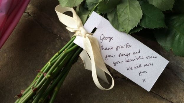 floral tribute at George Michael's house